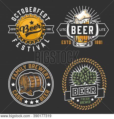 Colorful Beer Badges Vintage Set With Inscriptions Hop Cones Bottle Cap Wooden Cask And Mug Of Foamy