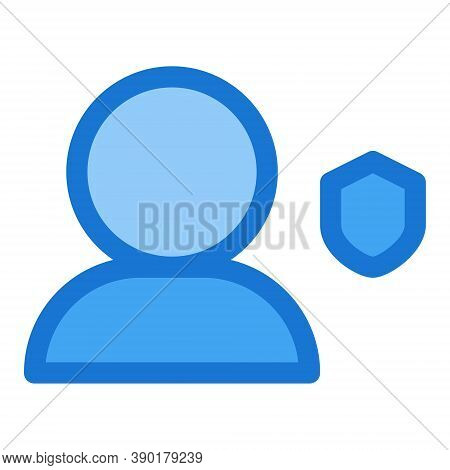 User With Shield Icon In Flat Style. Account Security Sign. Social Media Profile Password Protection