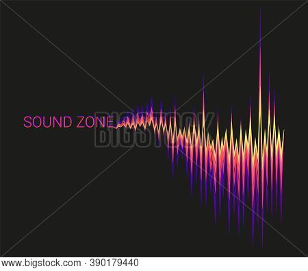 Vector Black Background With 3d Colorful Sound Waves Oscillating. Abstract Electronic Music Poster.