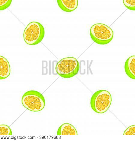 Illustration On Theme Big Colored Seamless Pomelo, Bright Fruit Pattern For Seal. Fruit Pattern Cons