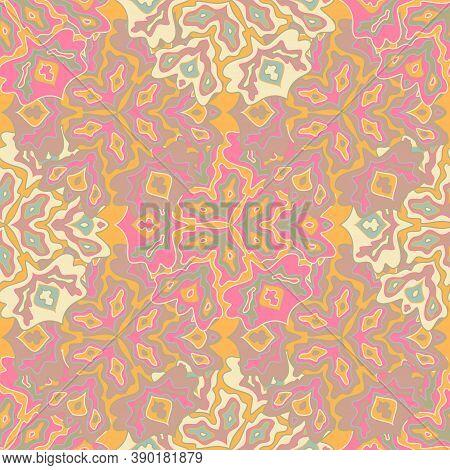 Vintage Floral Seamless Pattern In Bright Summer Positive Colors. Mandala Medallion Fluid Leaves Orn