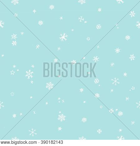 Snowflakes Seamless Pattern. Snowfall Christmas Repeat Backdrop. Christmas Snowfall, Winter Snowflak