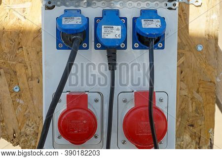 Bucharest, Romania - August 23, 2020 An Electric Range Distribution Boards With Sockets Is Seen On A