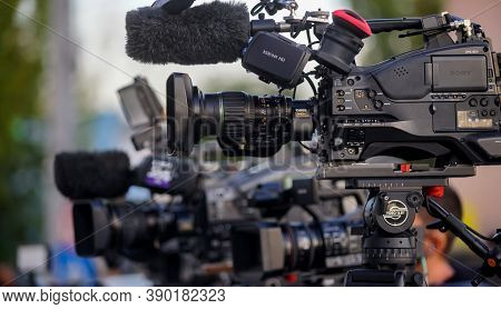 Bucharest, Romania -  September 29, 2020: A big Sony CineAlta XDCAM HD shoulder camcorder of a news TV channel is seen at a news event in Bucharest.