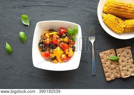Autumn Vegetable Stew And Grille Sweet Corn, Top View. Seasonal Fall Dish.