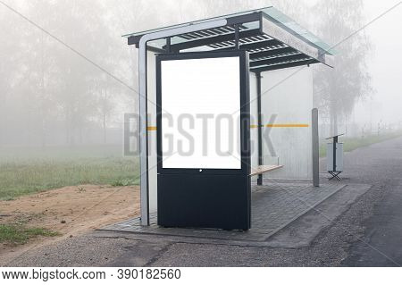 Banner For Advertising At Bus Stop Isolated