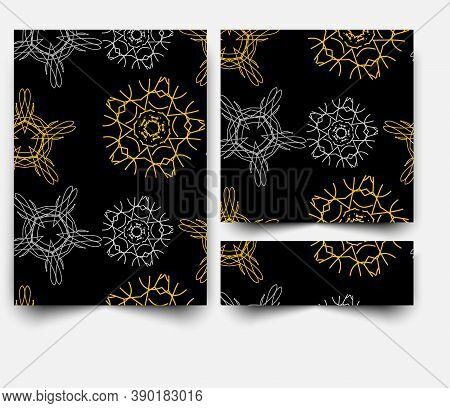 Black Abstract Vector Banner Templetes With Square Background And Golden Or Silver Glitter.
