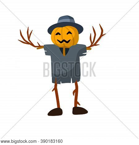 Scarecrow With A Pumpkin Head. Funny Bogeyman With Hat