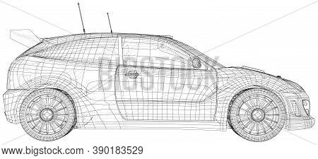 Rally Car Illustration Vector. Wire-frame Line Isolated. Vector Rendering Of 3d