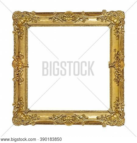 Golden Frame For Paintings, Mirrors Or Photo Isolated On White Background. Design Element With Clipp