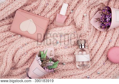 Accessories, Scarf, Perfume, Glasses, Flat Lay, Women's Accessories On A Pink Background