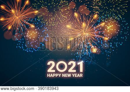 Greeting Card Happy New Year 2021. Beautiful Square Holiday Web Banner Or Billboard With Text Happy