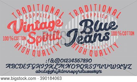 Vector Illustration On The Theme Of Denim, Raw And Jeans In New York City. Vintage Design. Grunge Ba