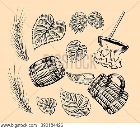 Set Of Ingredients For Ads Beer. Vintage Beer, Wooden Barrel, Wheat, Leaves, Fire. Brewing. Engravin