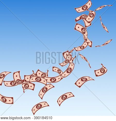 Russian Ruble Notes Falling. Floating Rub Bills On Blue Sky Background. Russia Money. Beautiful Vect