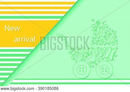 Vector Illustration New Arrival Sale Baby Stroller, Goods For Babies Promotional Background Design F