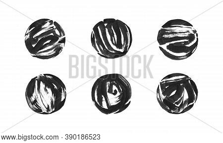 Set Of Black Ink Painted Grunge Dirty Circle Frame. Isolated Round Shape Illustration, Texture Brush