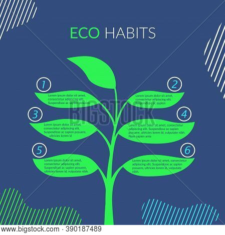 The Concept Of Eco Habits, Protecting The Environment, Nature, Making The World Cleaner. Vector Abst