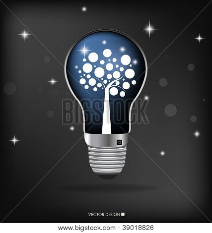 A light bulb with tree inside. Vector illustration.