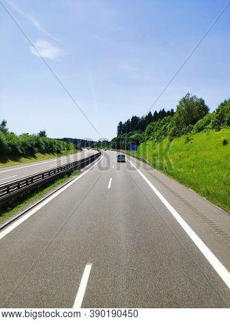 Bavaria, Germany - June 25, 2019: Autobahn Road Germany Highway.
