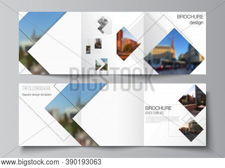 Vector Layout Of Square Format Covers Design Templates With Geometric Simple Shapes, Lines And Photo