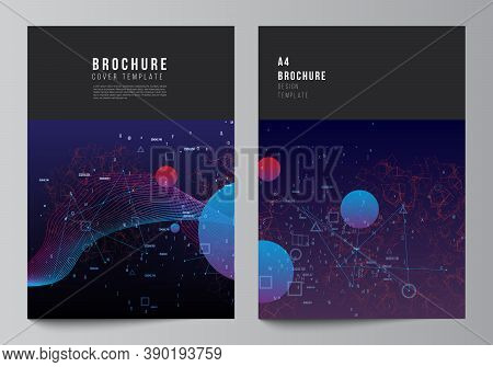 Vector Layout Of A4 Cover Mockups Templates For Brochure, Flyer Layout, Booklet, Cover Design, Book