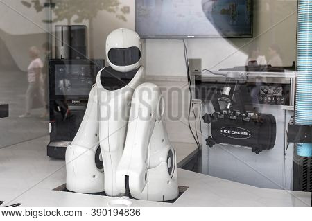 Moscow, Russia - August 24, 2020: Robot Seller Of Ice Cream. Automated Kiosk Selling Cold Milk Ice C