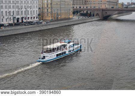 Moscow, Russia - August 24, 2020: Tourist Ship Floating On The Moskva River With Excursions, Empty B
