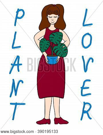 Illustration Of Young Woman Holding Potted Monstera. Caucasian White, Long Brown Hair, Closed Eyes,
