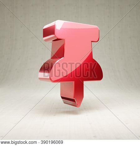 Thumbtack Icon. Gold Glossy Thumbtack Symbol Isolated On White Concrete Background. Modern Icon For