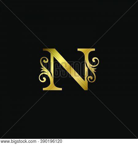 Golden N Initial Letter Luxury Logo Icon, Vintage Luxurious Vector Design Concept Alphabet Letter Fo