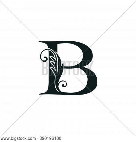 Monogram Initial Letter B Luxury Logo Icon, Luxurious Vector Design Concept Alphabet Letter For Vint