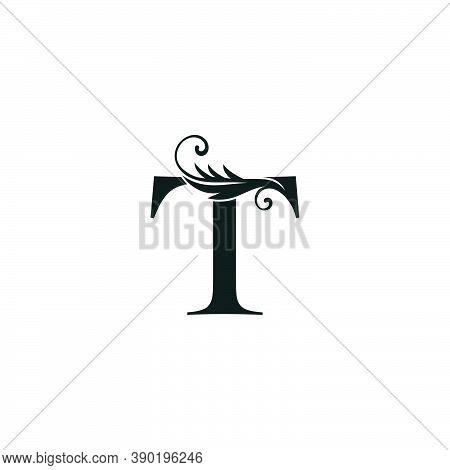 Monogram Initial Letter T Luxury Logo Icon, Luxurious Vector Design Concept Alphabet Letter For Vint