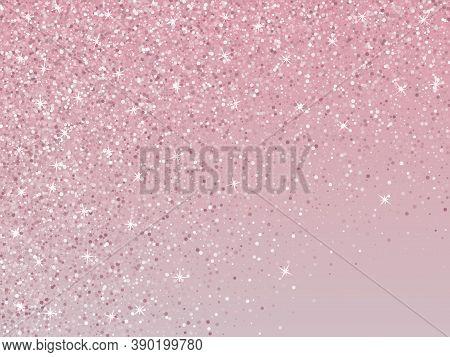 Bridal Pink Rose Gold Glitter Vector Background. Premium Sparkles Confetti Invitation Card Backgroun