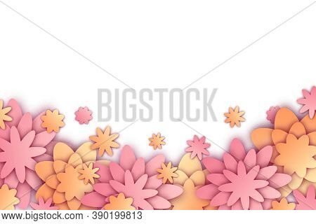 Vector Illustration With Paper Cut Flowers And Place For Text. Trendy Spring And Summer Origami Back