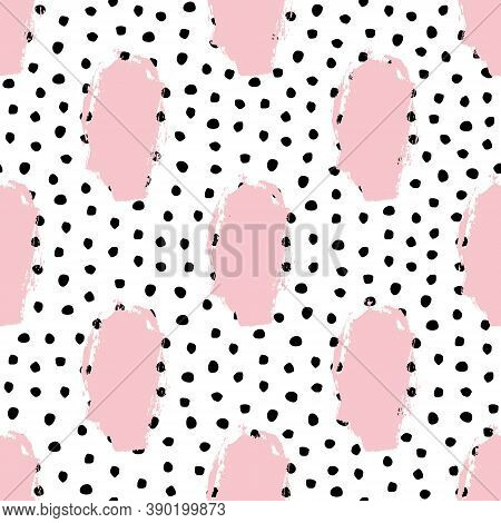 Vector Seamless Trendy Messy Geometric And Polka Dot Pattern. Modern Ink Brush Elements Background.