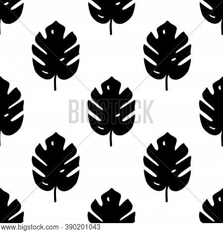 Vector Seamless Pattern With Monstera Palm Leaves. Trendy Summer Tropical Design.