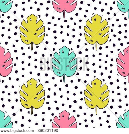 Vector Seamless Pattern With Monstera Palm Leaves And Polka Dot Background. Trendy Summer Tropical D