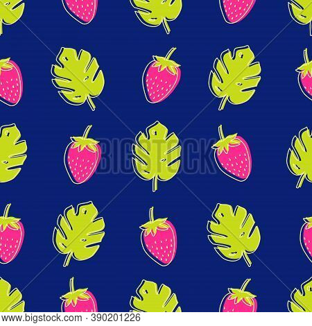Vector Seamless Pattern With Monstera Palm Leaves And Strawberries. Trendy Summer Tropical Design.