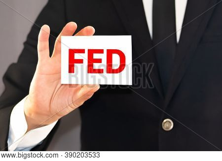 Word Writing Text Fed. Business Concept For A Federal Agent And Official Especially A Member Of The