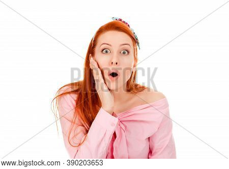 Wow, Such Great Product Sale. Beautiful Shocked Surprised Woman Girl In Retro Hairstyle 30s, Open Mo