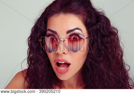 Closeup Portrait Young Hispanic Latina Woman With Heart Shaped Party Pink Glasses Happy Surprised Is