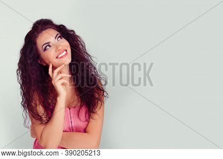 Daydreaming Pensive Model. Closeup Portrait Young Hispanic Latina Beautiful Thoughtful Woman Looking