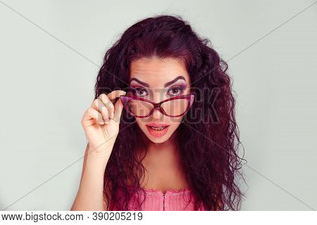 Surprised. Closeup Portrait Of A Beautiful Young Adult Hispanic Latina Woman Amazed Excited Middle A