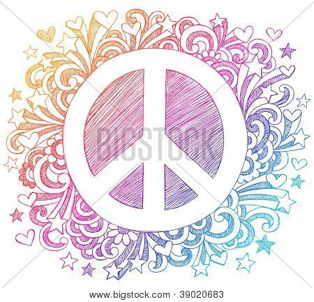 Peace Sign Sketchy Back to School Notebook Doodles Hand-Drawn Vector Illustration Design