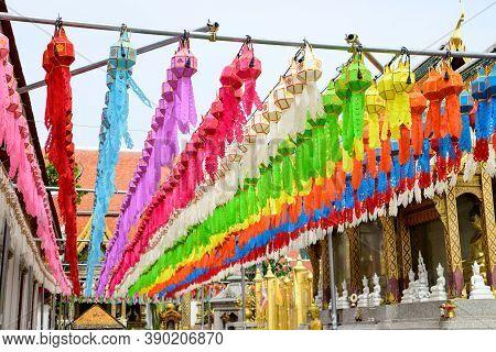 Colorful Paper Lanterns Hanging For Worship Of Buddha In Wat Phra That Hariphunchai, Lamphun. Lanter
