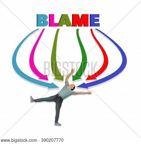 A Man Lies On His Back As All Arrows Point His Direction. The Word Blame Is At The Top Of The Arrows