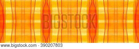 Orange Tartan Background. Watercolour Plaid Texture. Woven Traditional Squares For Fabric Print. Sea