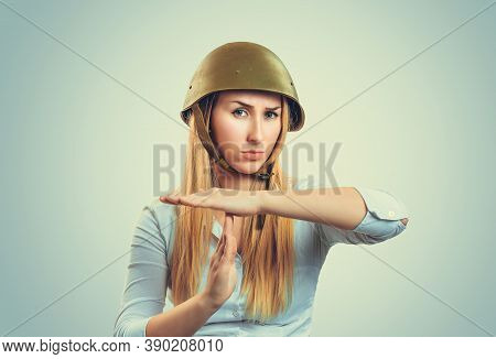Time Out. Woman In Military Armor Cap Equipment Of Of World War Ii Period Gesturing Stop, Pause. Cau
