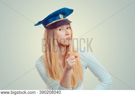 Attention. Woman Dressed In A Blue Police Hat Pointing Finger At You Camera, You Chosen. Caucasian B